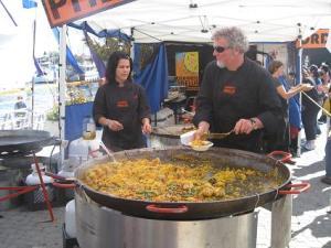 Serving paella